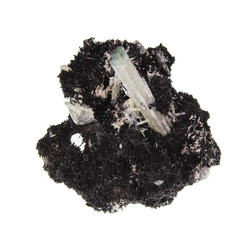 Goshenite / Aquamarine Beryl on Schorl (
