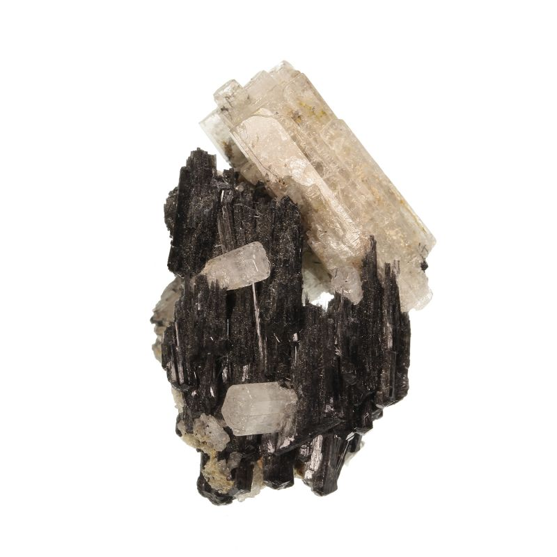 Beryl (var: Goshenite) on Foitite Tourmaline (ex Shields Flynn Collection)
