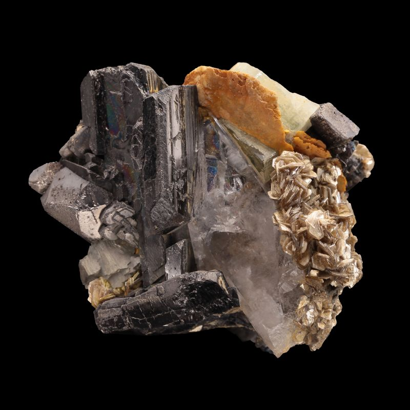 Ferberite with Fluorapatite, etc. (ex Kay Robertson Collection)