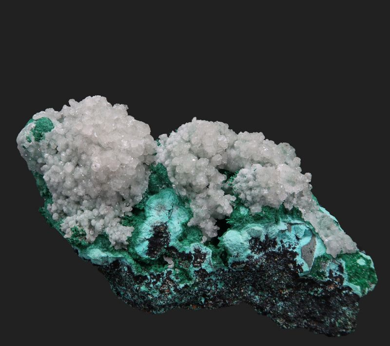 Calcite on Malachite and Chrysocolla