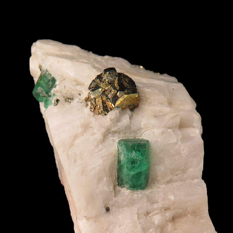 Emerald & Pyrite on Calcite (Chet Lemanski Coll.)